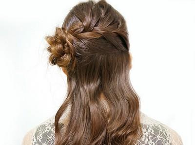 編み込み・花・ロングヘアのやり方